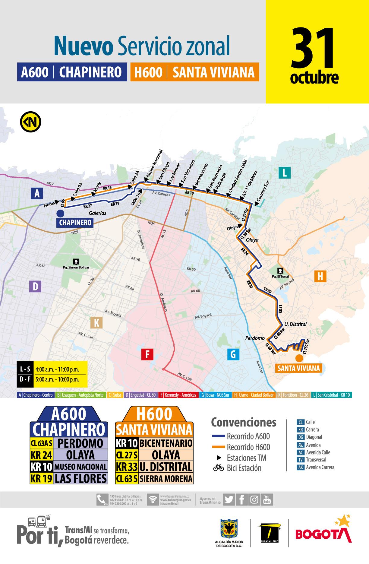 Mapa de la ruta A600 H600