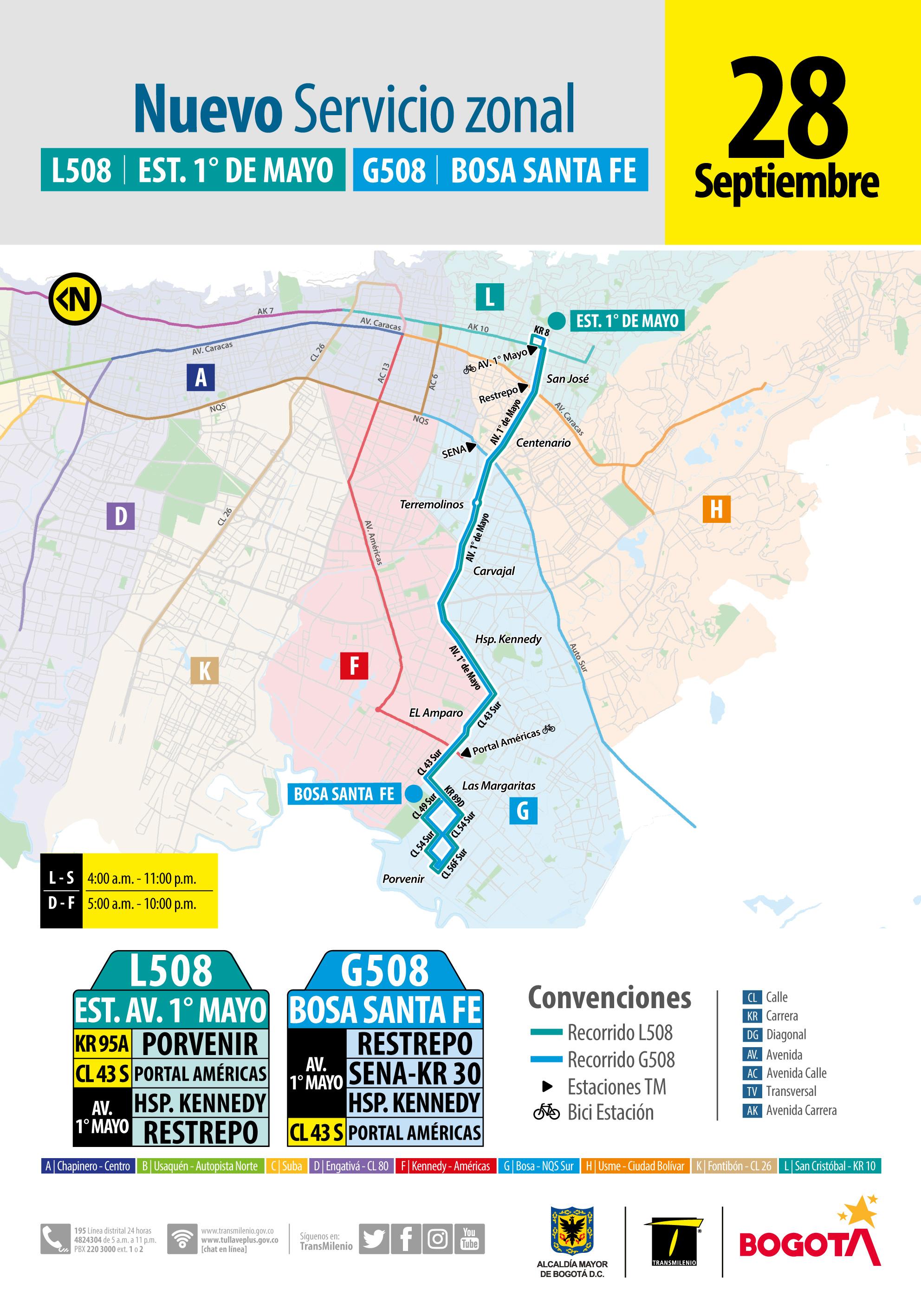 L508 Estación 1 de Mayo - G508 Bosa Santa Fe