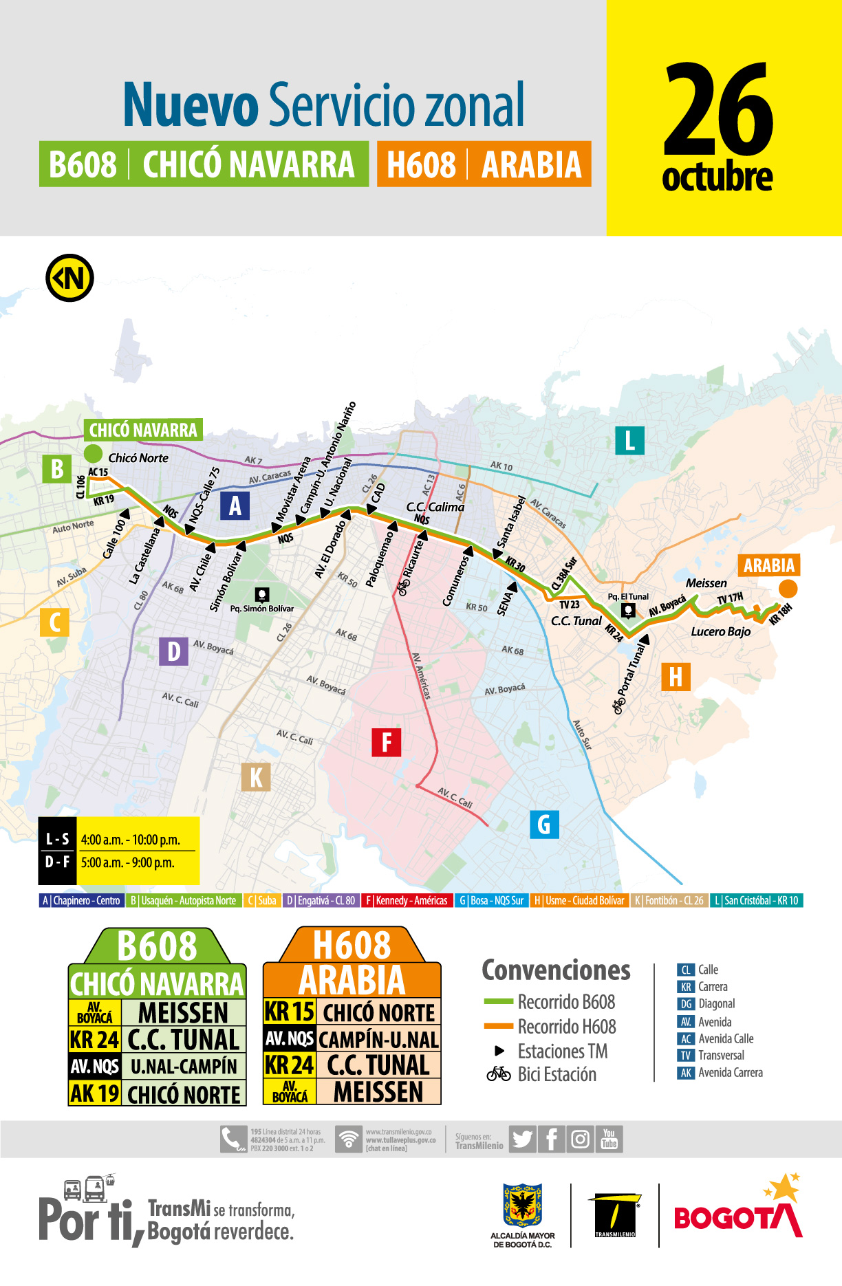 Nueva ruta H608 - B608 Chicó Navarra -Arabia