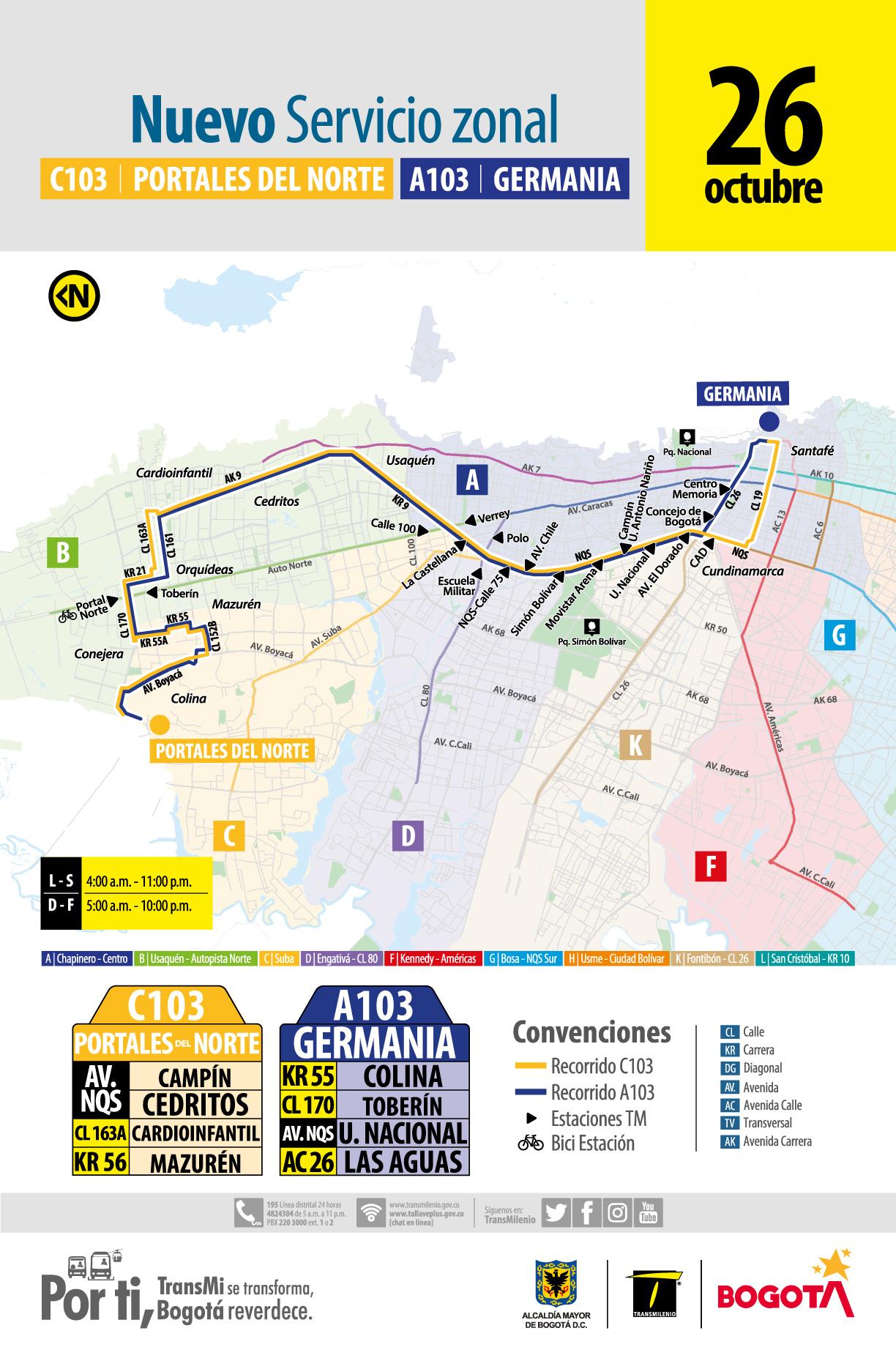Nueva ruta C103 – A103 Portales del Norte- Germania