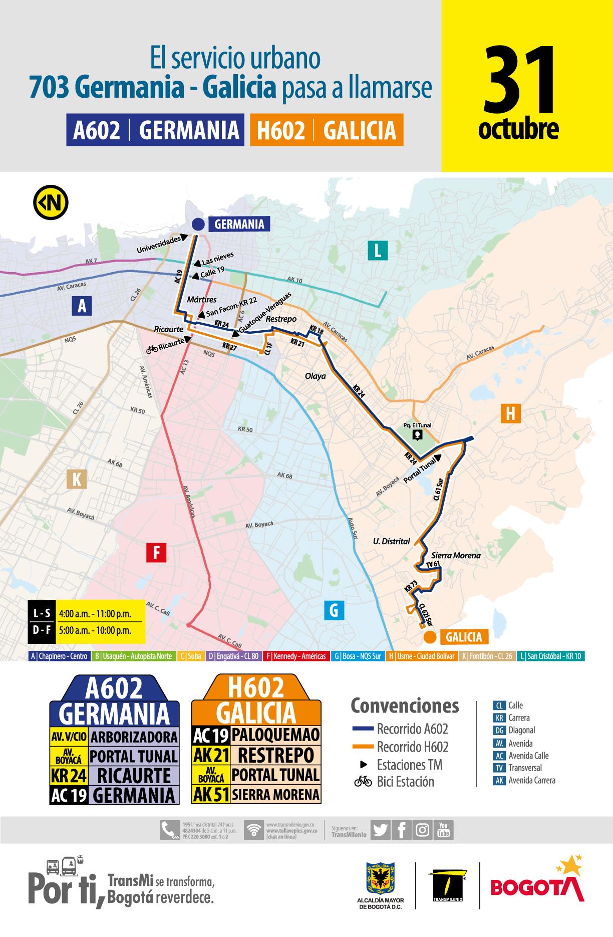 La ruta zonal 703 Germania - Galicia pasa a llamarse H602 A602 Germana- Galicia