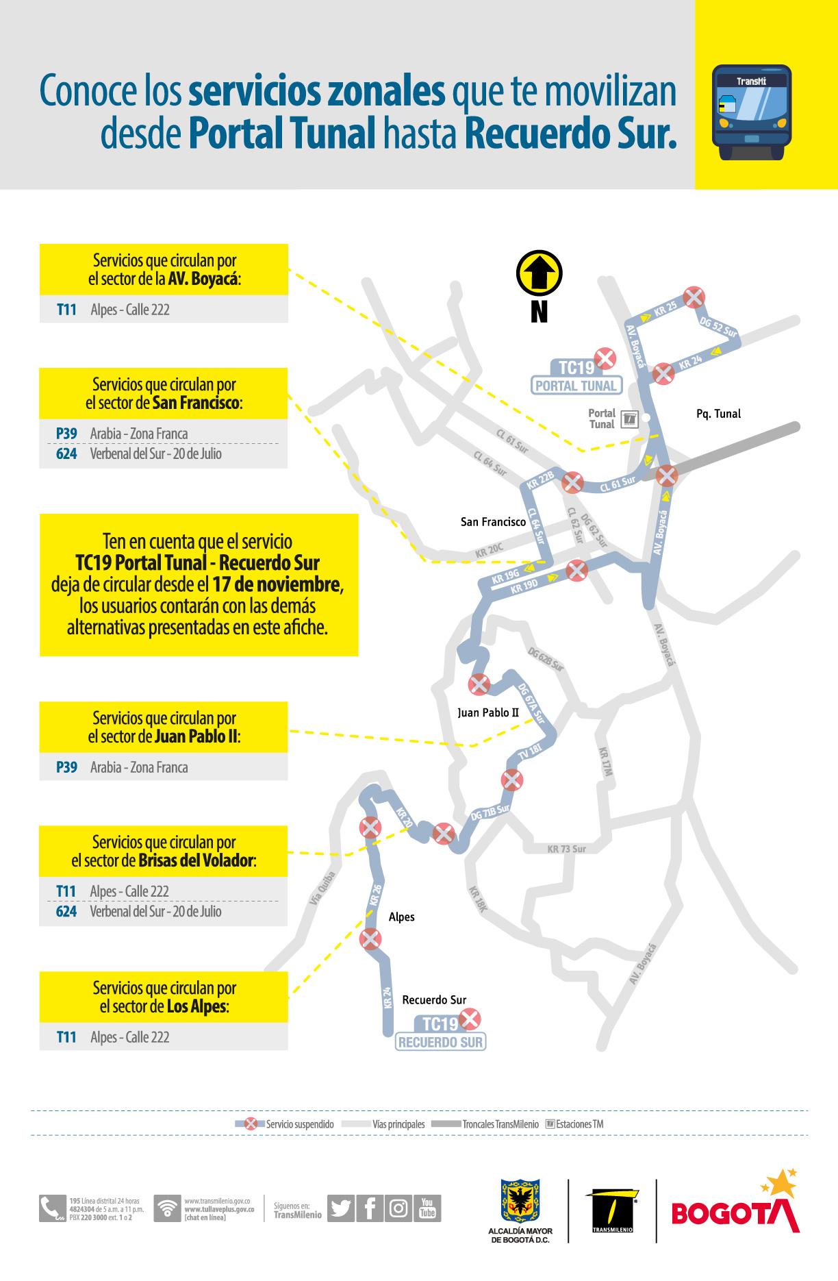 TC19 Portal Tunal - Recuerdo Sur( Deja de circular)