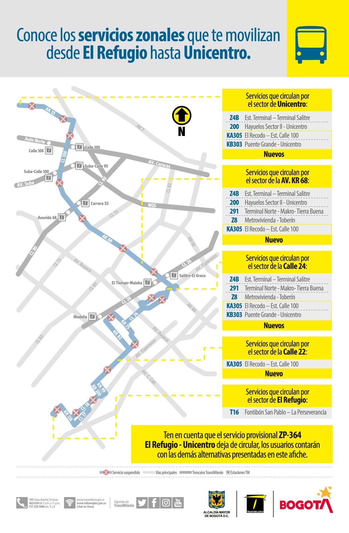 Rutas alternas de la ruta ZP- 364 que te movilizan desde El Refugio hasta Unicentro