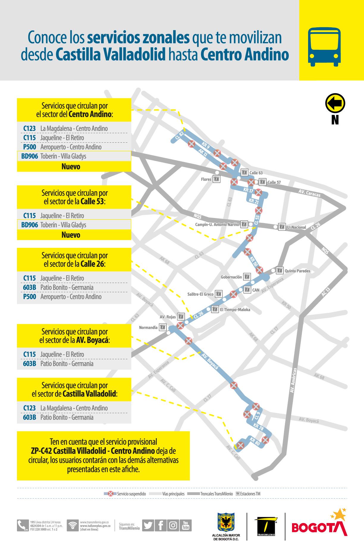 servicios zonales que te movilizan desde Castilla Valladolid hasta Centro Andino