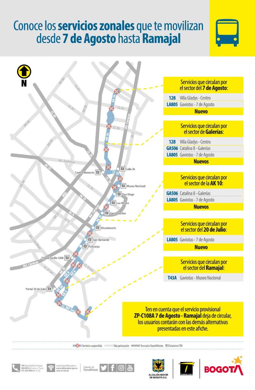Conoce las rutas que conectan el barrio 7 de Agosto con Ramajal
