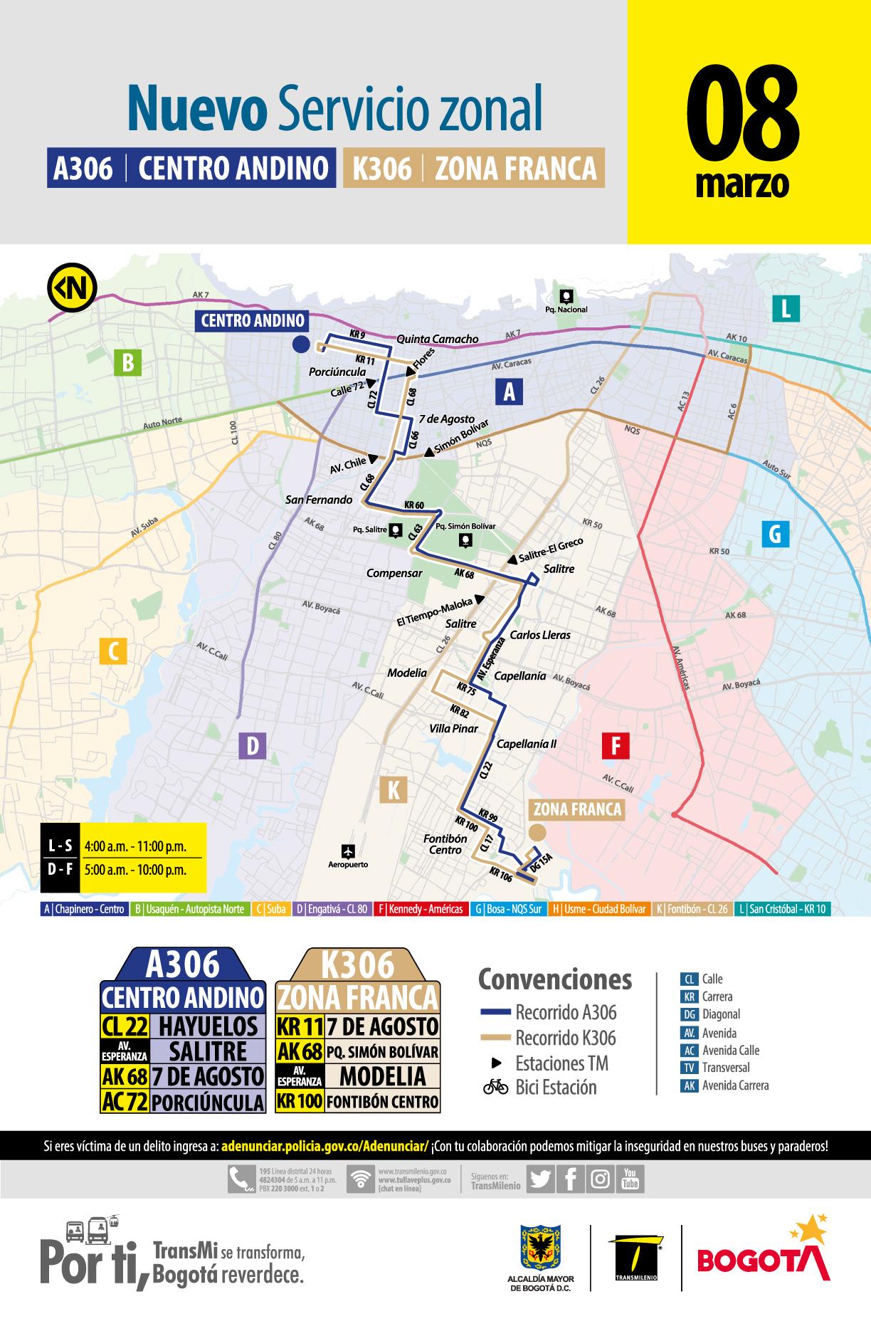 Mapa ruta zonal KA306 Zona Franca - Centro Andino