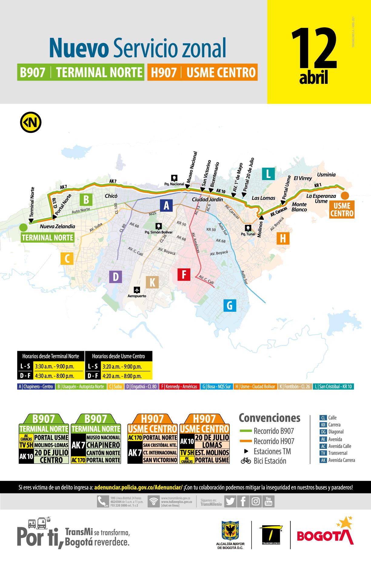 La nueva ruta B907 Terminal Norte - H907 Usme Centro que conecta Terminal Norte con Usme Centro