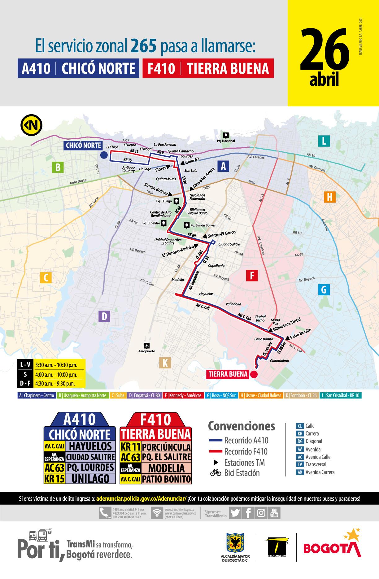 Nueva ruta A410 Chicó Norte - F410 Tierra Buena remplaza al servicio urbano 265