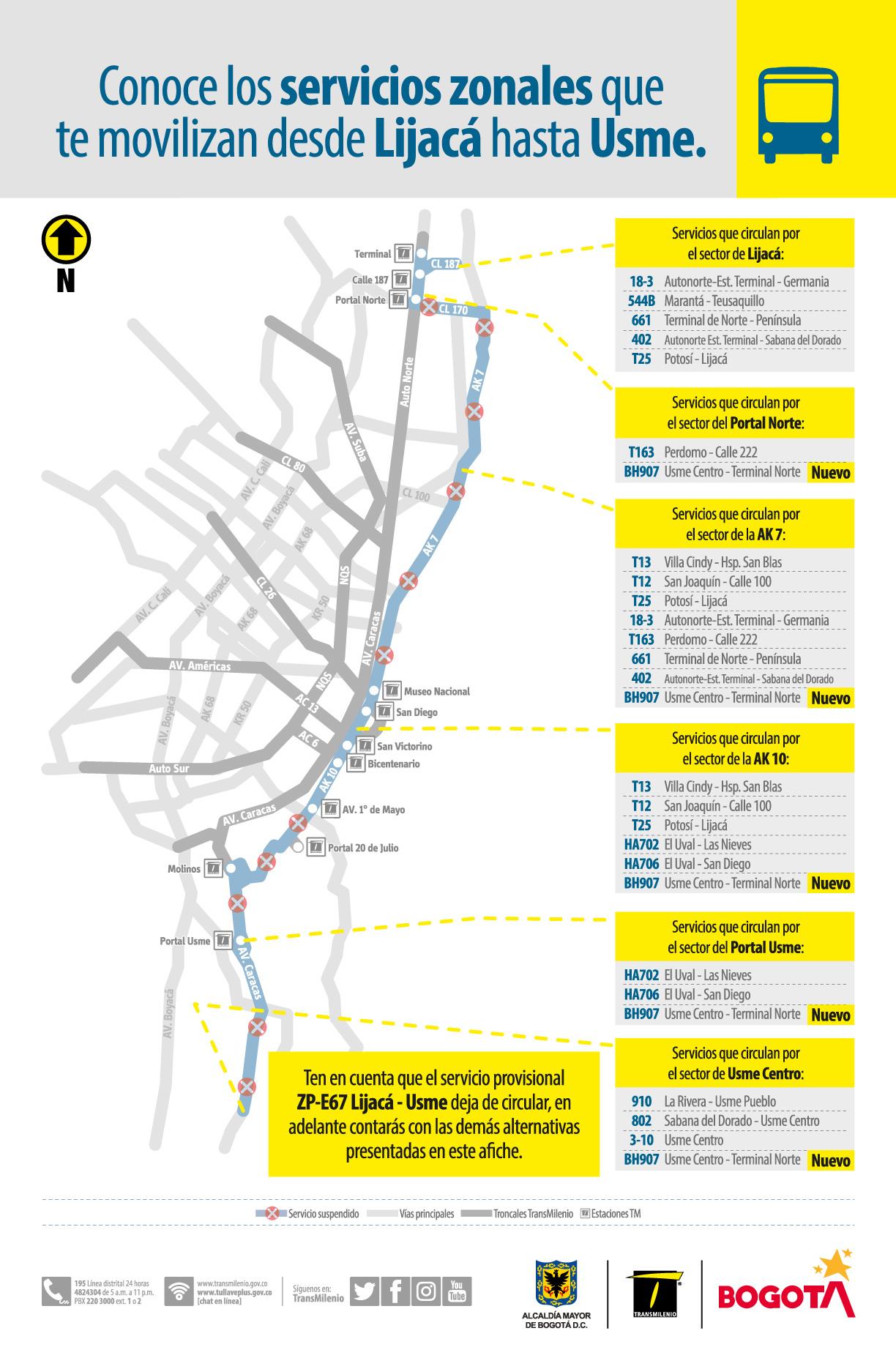 ruta provisional ZP-E67 Lijacá - Usme que dejará de circular a partir del próximo sábado 1 de mayo de 2021.
