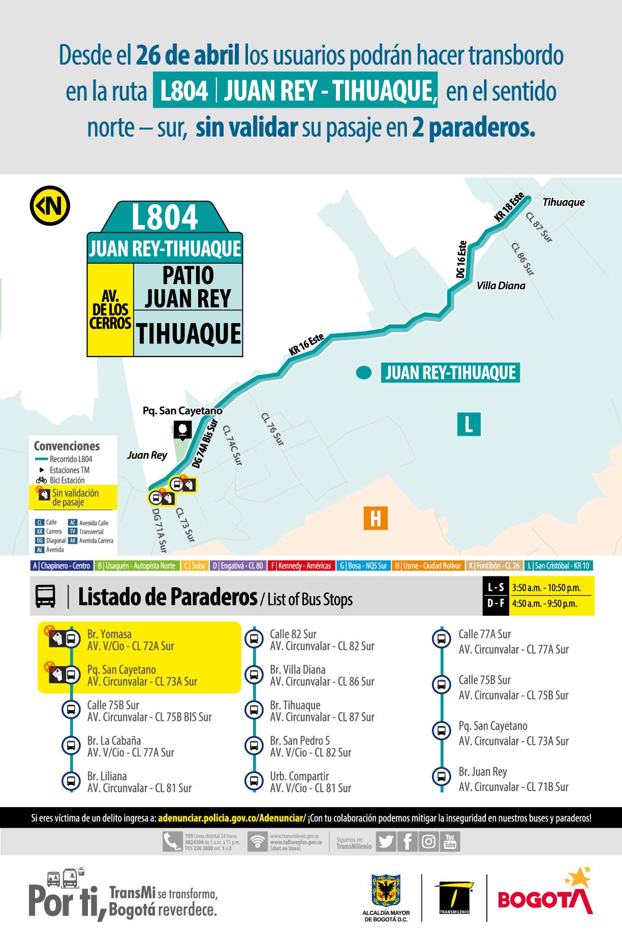 Usuarios podrán hacer transbordo en la ruta L804 Juan Rey - Tihuaque