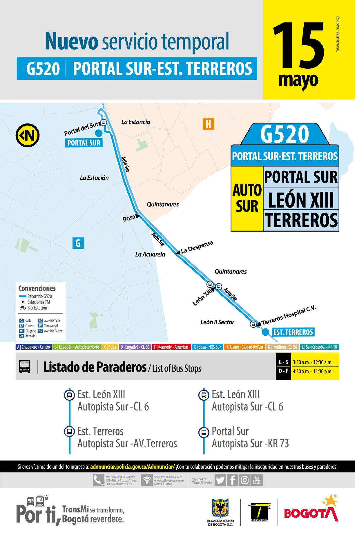 Ruta G520 conectará temporalmente al Portal Sur con Terreros en Soacha