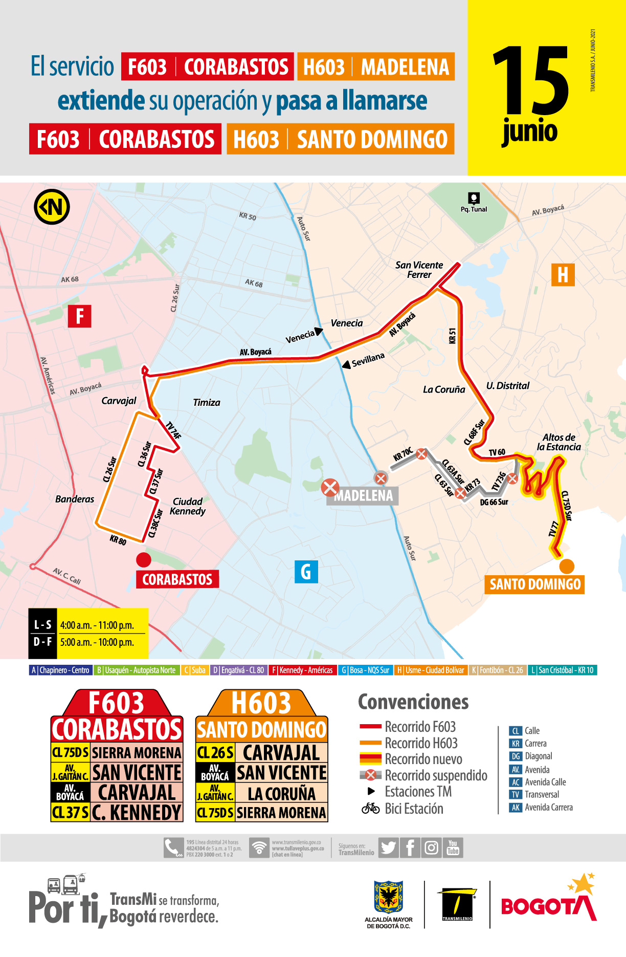 Ruta zonal F603 Corabastos - H603 Madelena extienden su operación y cambia su nombre