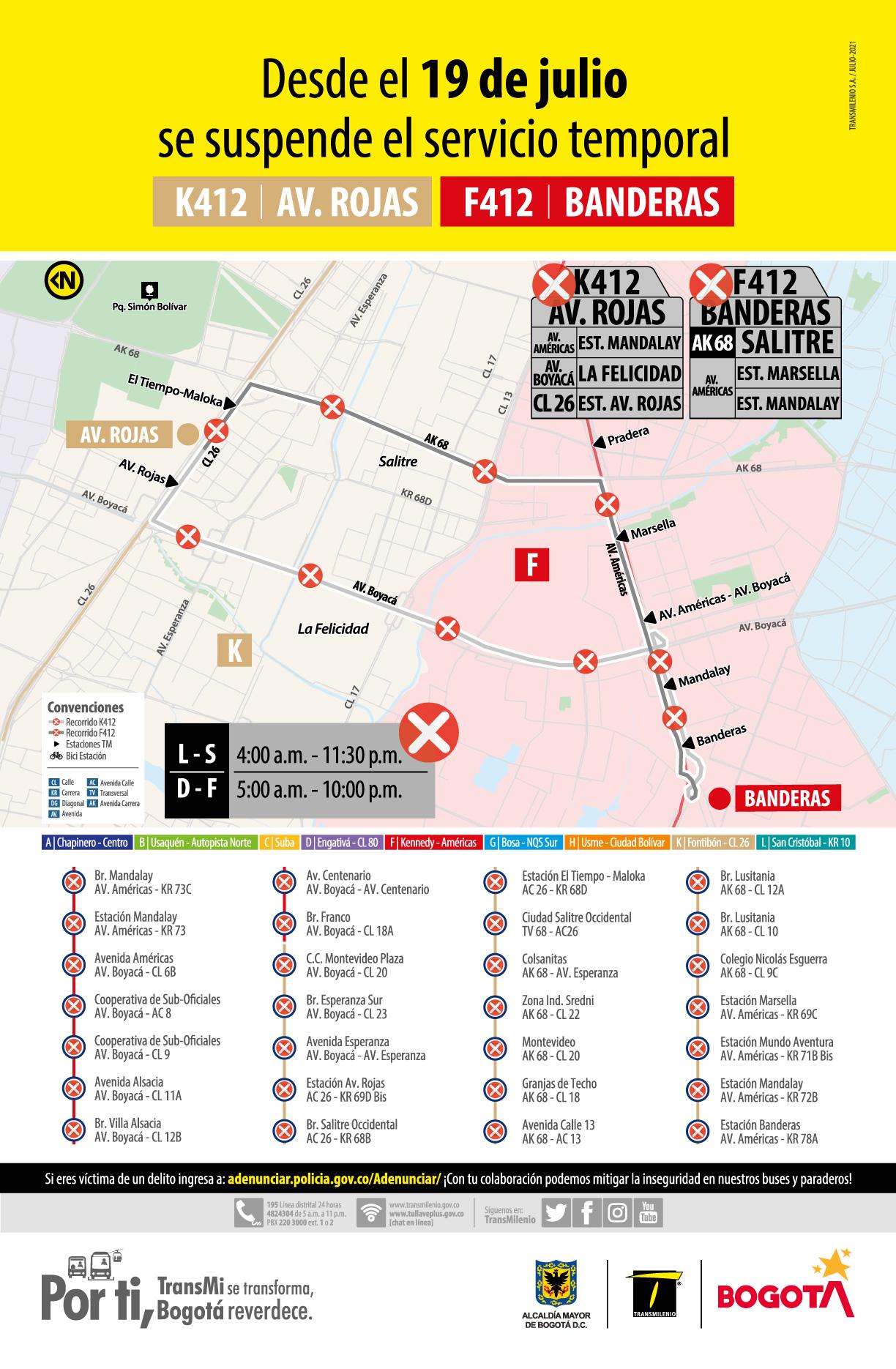 Ruta zonal temporal K412 Avenida Rojas - F412 Banderas suspende su operación