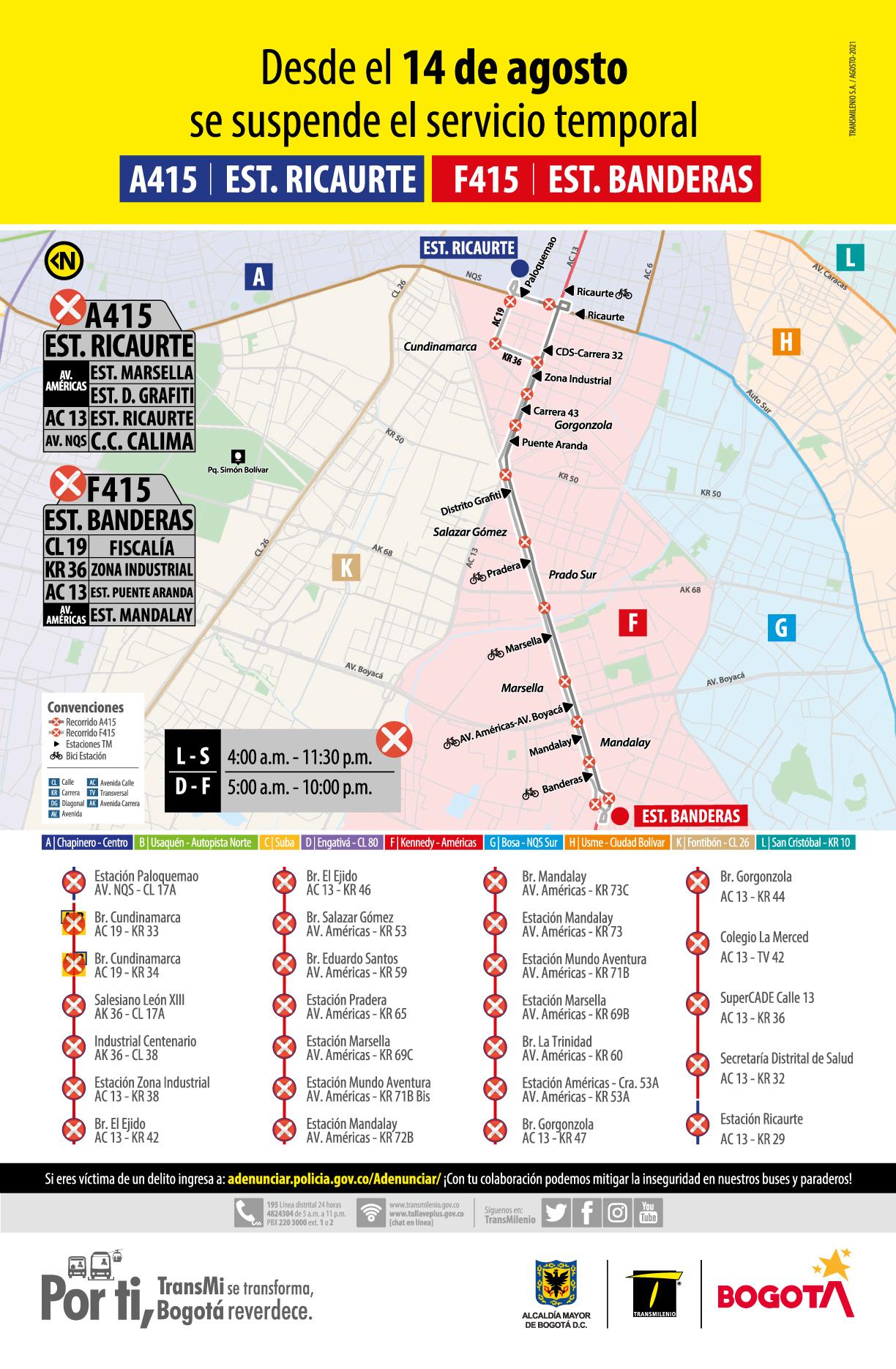 A415 Estación Ricaurte - F415 Estación Banderas