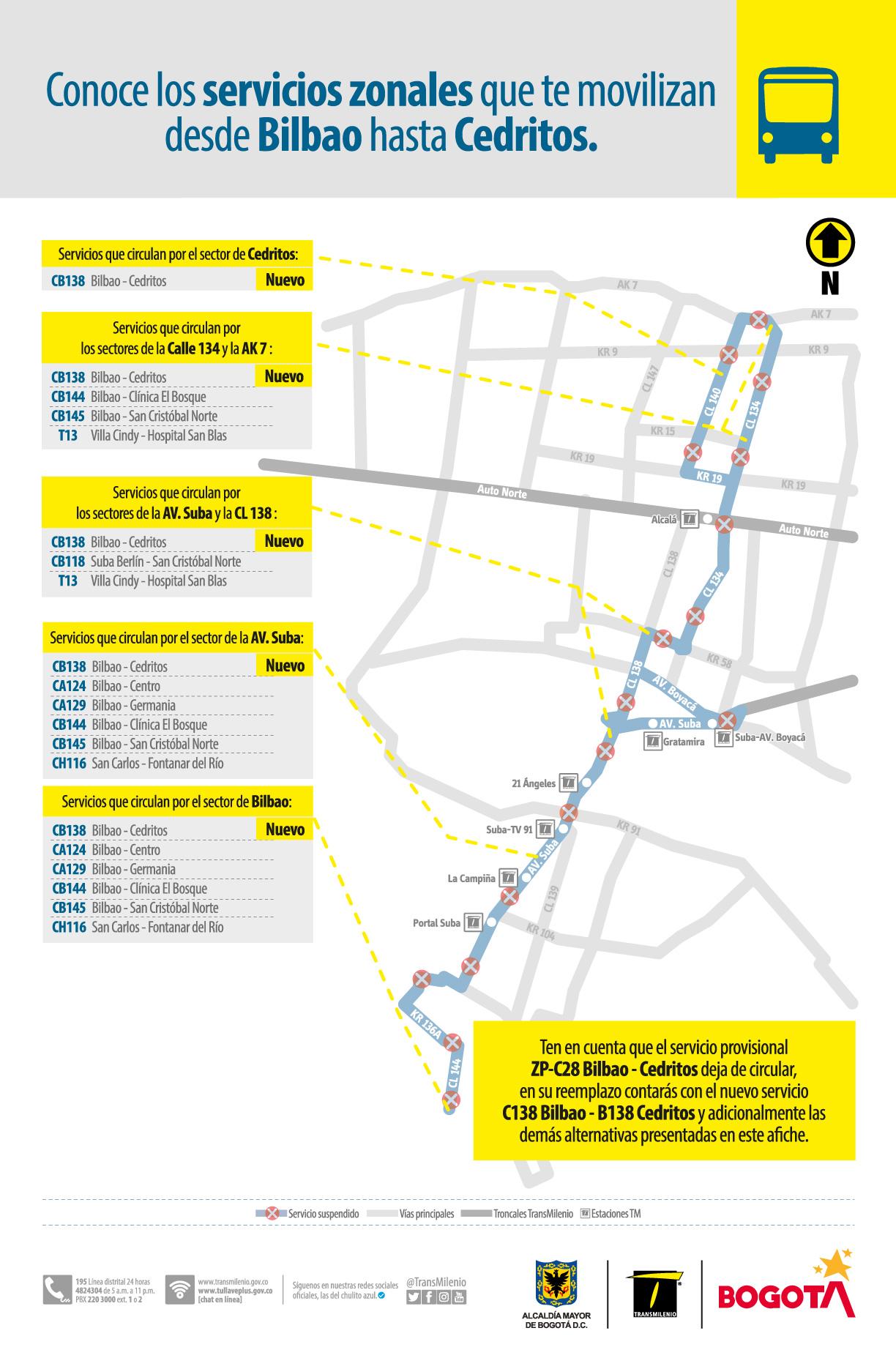 Rutas zonales que te moviliza desde el sector de Bilbao hasta Cedritos